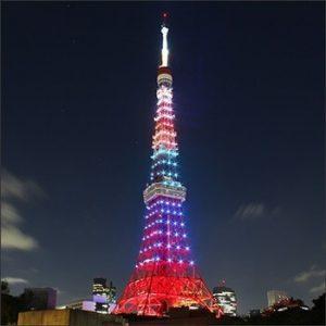 東京タワーハロウィンイベントのライトアップ