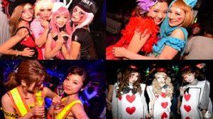 渋谷のナイトクラブでハロウィンの仮装をする女性たち