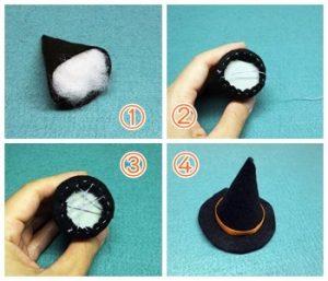 ミニチュア|ハロウィンの魔女帽子の中綿を詰める