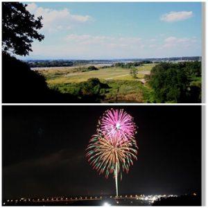 飛山城史跡からのうつのみや花火の景色