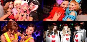 大阪のナイトクラブで仮装をしてハロウィンイベントを楽しむ女性