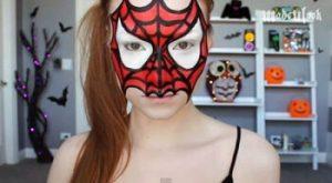 ハロウィンの大人のスパイダーマンのフェイスペイント