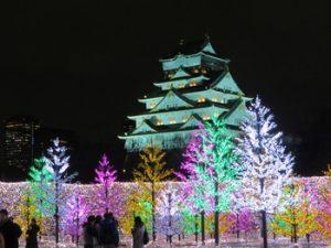 大阪城のイルミネーション