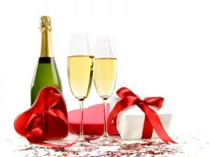 バレンタインにシャンパンとグラス