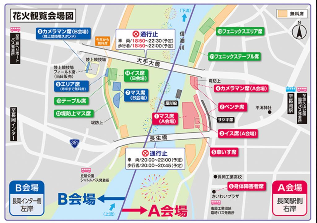 長岡大花火大会 会場図