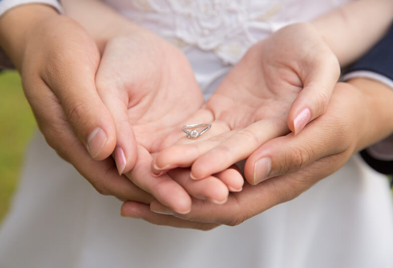 指輪をもつ男女