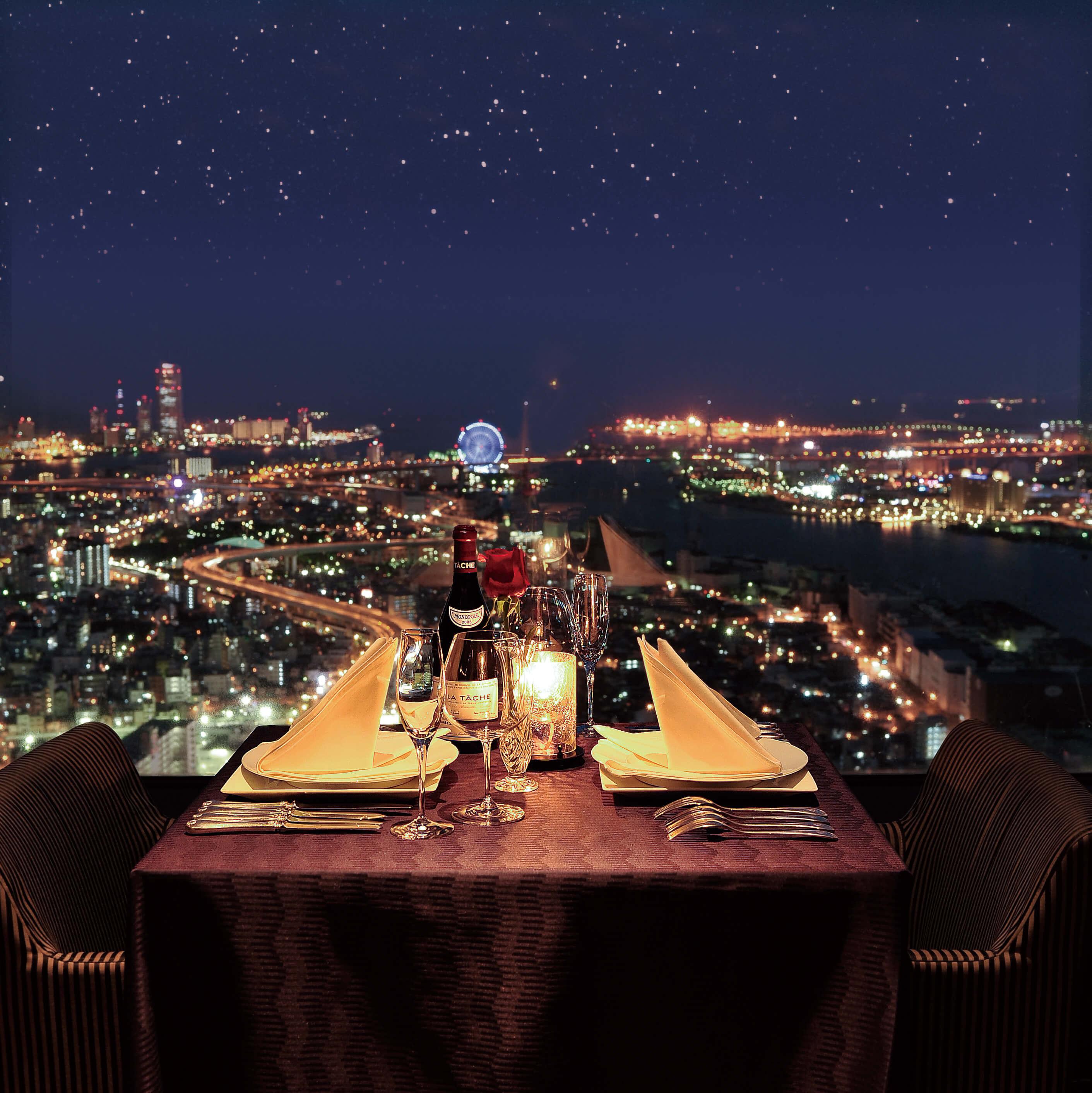 ホテルレストランから見える夜景